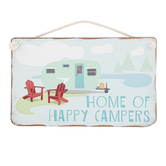 Open Road Brands, Home Of Happy Campers Wall Plaque, MDF, 6 x 9 1/2 inches