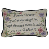 Manual Woodworkers, My Daughter Pillow, Multi-Colored, 12 1/2 x 8 1/2 Inches