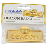 B&H Publishing Group, Deacon Badge with Cross, Zinc Alloy, Brass, 2 x 2/3 inches