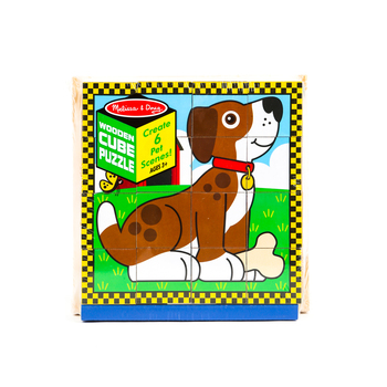 Melissa & Doug, Pets Cube Wooden Puzzle, Ages 3 to 6 Years Old, 16 Pieces