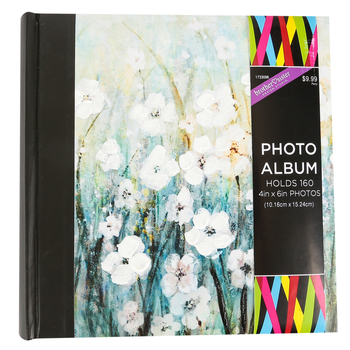 White Painted Flowers Photo Album, Blue/White, 9 x 9 Inches