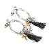 Modern Grace, Hoop with Tassel & Cross & Blessed Charms Dangle Earrings, Zinc Alloy, Silver