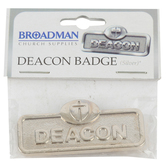 B&H Publishing Group, Deacon Badge with Cross, Zinc Alloy, Multiple Colors Available, 2 x 2/3 inches