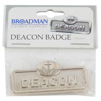 B&H Publishing Group, Deacon Badge with Cross, Zinc Alloy, Silver, 2 x 2/3 inches