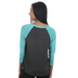 Rooted Soul, Grace Upon Grace, Women's 3/4 Raglan Sleeve T-Shirt, Gray and Seafoam, X-Small