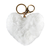 Iron Orchid Studio, Fuzzy Heart Keychain, Plush, White, 4 x 4 5/8 x 2 Inches