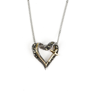 H.J. Sherman, Marcasite Heart Pendant, Sterling Silver, 18 inches