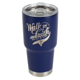 Kerusso, Walk By Faith Stainless Steel Tumbler, Stainless Steel, Blue, 27 Ounces