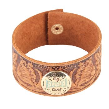 Wildflower Road, My Redeemer Lives Cuff Bracelet, Leather, Brown