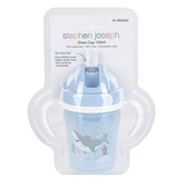 Stephen Joseph, Shark Baby Cup with Straw, Plastic & Silicone, Blue, 2 1/2 x 2 1/2 x 5 1/2 inches