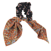 Natural Life, Mixed Print Tie Scrunchie, Polyester, Mustard, 3 inches