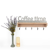 Coffee Time Shelf with 5 Hooks, Wood and Galvanized Metal, 24 x 11 1/2 inches