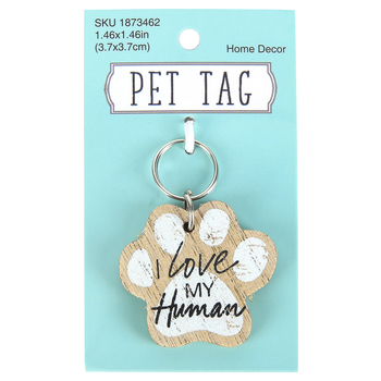 I Love My Human Pet Tag, MDF, Brown & White, 1 1/2 inches