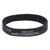 CTA, Inc., God Refuge Strength Silicone Bracelet, Patriotic, Black, Red, White, and Blue