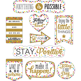 Teacher Created Resources, Clingy Thingies Confetti Positive Sayings Accents, Assorted Sizes, 10 Pieces