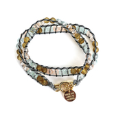 By His Grace, Isaiah 58:11 Beaded Wrap Bracelet with Charm, Glass and Zinc Alloy, Gold