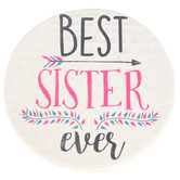 Carson Home Accents, Best Sister Coaster, Gold, 2 3/4 Inches