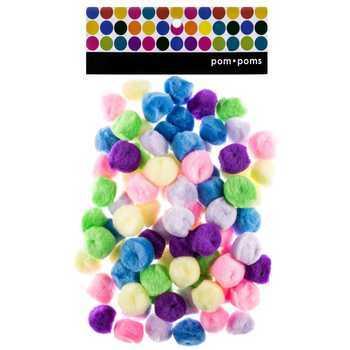 Pom Poms, 1 inch, Bright Multi-colored Pastel, 80 count