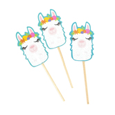 Llama Party Cupcake Toppers, Southwest Colors, 3.63 x 1 Inch, 24 Count