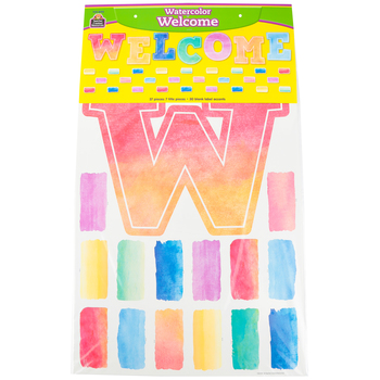 Teacher Created Resources, Watercolor Welcome Bulletin Board Display Set, Multi-colored, 37 Pieces