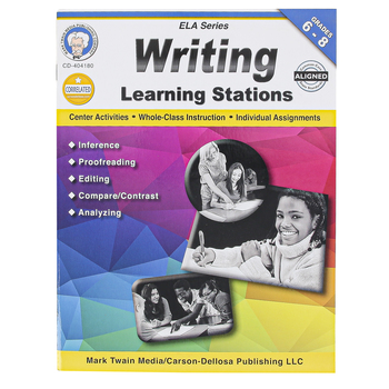 Carson-Dellosa, Writing Learning Stations Workbook, Paperback, 48 Pages, Grades 6-8