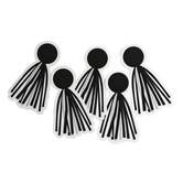 Schoolgirl Style, Simply Stylish Black and White Tassels Large Cut-Outs, 3 1/4 x 5 1/2 Inches, 36 Pieces