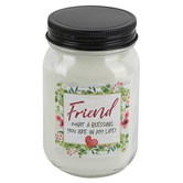Blossom Bucket, Simple Essentials, Friend What A Blessing Jar Candle, White, 12 ounces