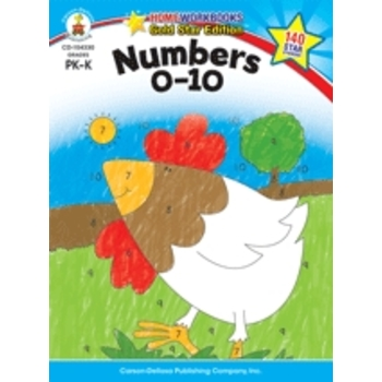 Home Workbooks Gold Star Edition Activity Book: Numbers 0-10, 64 Pages, Grades PreK-K