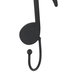 Music Note Wall Hook, Metal, Black, 9 1/2 x 3 1/2 x 2 1/4 inches