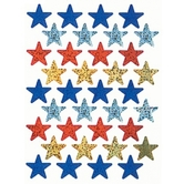 Eureka, Sparkle Stars Stickers, 1 x 1 Inch, Assorted, Pack of 72