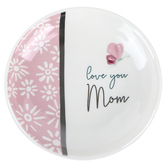 Pavilion Gift, Love You Mom Jewelry Dish, Stoneware, Pink & White, 4 inches