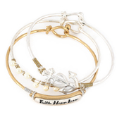 Oori Trading, Faith Hope Love Bangle Bracelet Set, Silver and Gold Plated, 3 Pieces