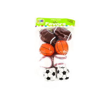 Fun Express, Vinyl Sport Balls, 1.75 to 3 Inches, Assorted, Pack of 8