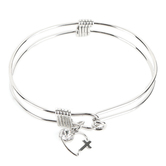 H.J. Sherman, Heart Cross Double Strand Bangle Charm Bracelet, Rhodium Plated, Silver