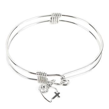 H.J. Sherman, Heart Cross Double Strand Bangle Charm Bracelet, Rhodium Plated, Silver