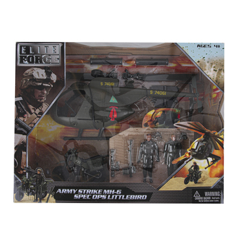 Sunny Days, Elite Force Army Strike Helicopter and Motorcycle Set, 10 Pieces, Ages 4 to 15