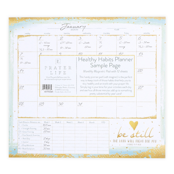 Legacy Publishing Group, Exodus 14:14 Be Still Healthy Habits Magnetic Planner, 9 3/8 x 8 3/8 inches, 12 Sheets