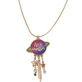 Glitter and Grace, 2 Corinthians 5:17 New Creature Tassel Cord Necklace, Purple/Gold, 16 inch Cord