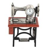 Lifelines, Sewing Machine Desk Clock, Zinc Alloy Metal, Silver, Black & Brown, 2 3/4 x 4 inches
