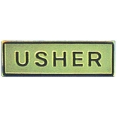 Swanson, Usher Badge with Safety Pin Catch, Multiple Colors Available, 2 x 1/2 inches