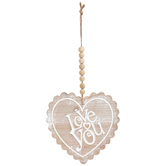 Hanging Love You Heart Wall Decor, Wood, Brown and White, 16 3/4 x 8 Inches