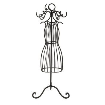 Wire Dress Form Jewelry Stand, Metal, Black, 14 x 4 1/2 inches