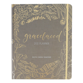 Harvest House, GraceLaced 12-Month Weekly 2021 Planner, by Ruth Chou Simons, Hardcover, Gray, 176 Pages