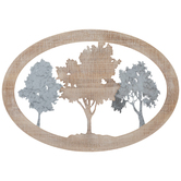 Oval Three Trees Wall Decor, MDF and Metal, Brown and Silver, 15 5/8 x 22 1/2 x 1 inches