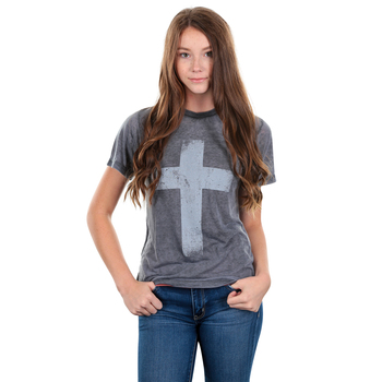Crazy Cool Threads, Cross Acid Wash, Women's Short Sleeve T-Shirt, Grey, S-2XL