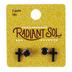 Radiant Sol, Black Cross and Zircon Post Earring Set, Acrylic and Zircon, 2 Pairs