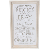 1 Thessalonians 5:16-18 Rejoice Always Wall Decor, Wood, Distressed White, 30 1/8 x 18 1/8 x 1 1/2 inches