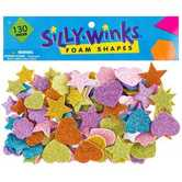 Glitter Shapes Foam Stickers, Multi-colored, 130 count
