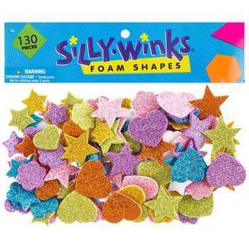 Glitter Shapes Foam Stickers, Multi-colored, 130 count