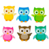 Renewing Minds, Owls Mini Cutouts, Multi-Colored, 3 Inches, 6 Designs, 36 Pieces